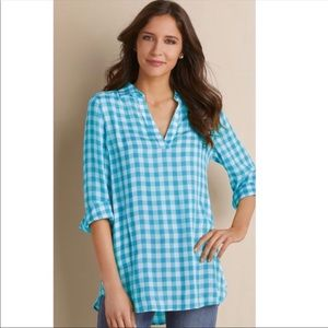 Soft Surroundings Al Fresco Gauze Gingham Tunic
